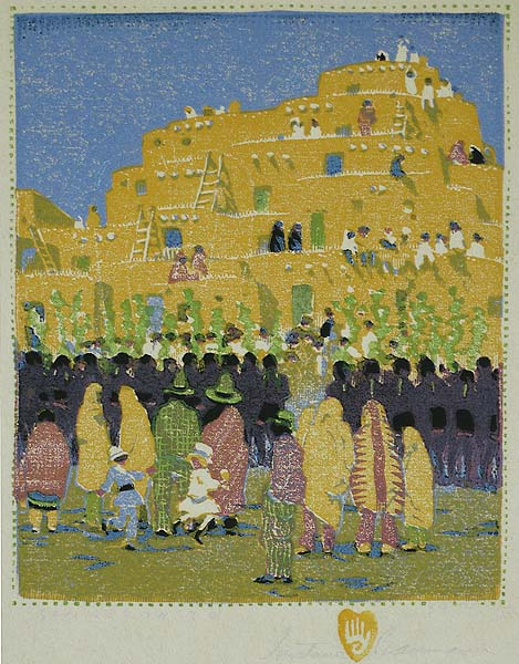 San Geronimo (Taos, New Mexico) - GUSTAVE BAUMANN - woodcut printed in colors