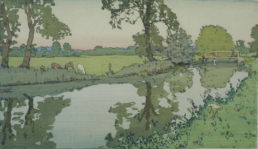 Wiston River - FRANK MORLEY FLETCHER - woodcut printed in colors