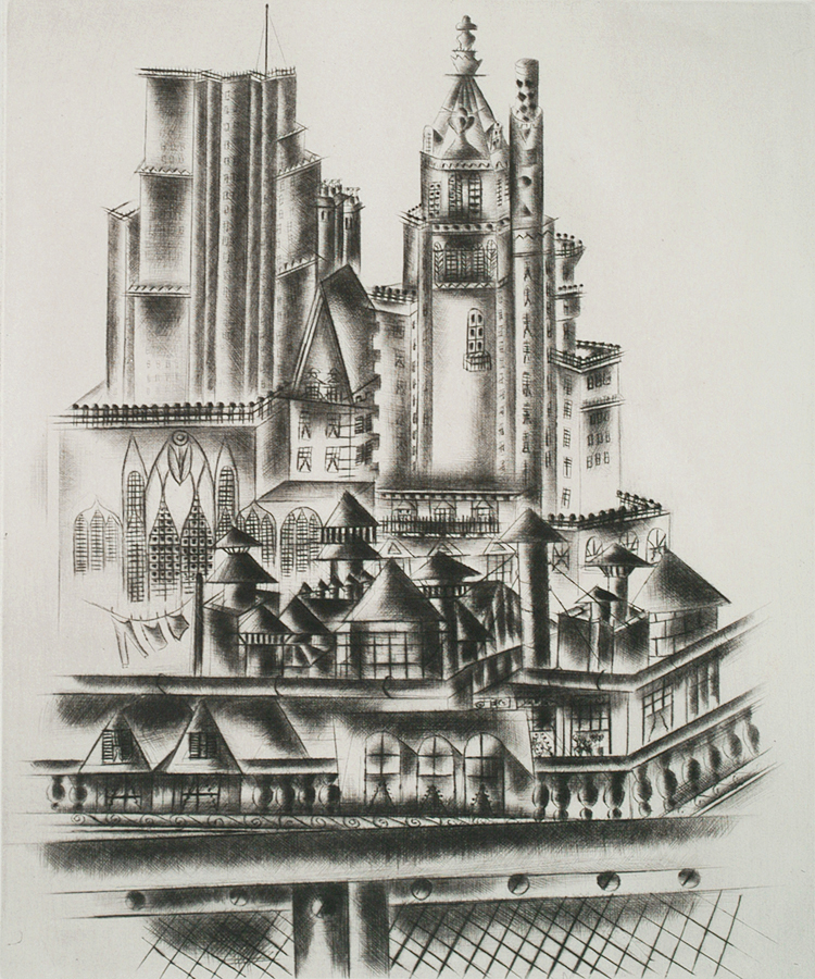 Manhattan Roofs - JOLAN GROSS-BETTELHEIM - drypoint