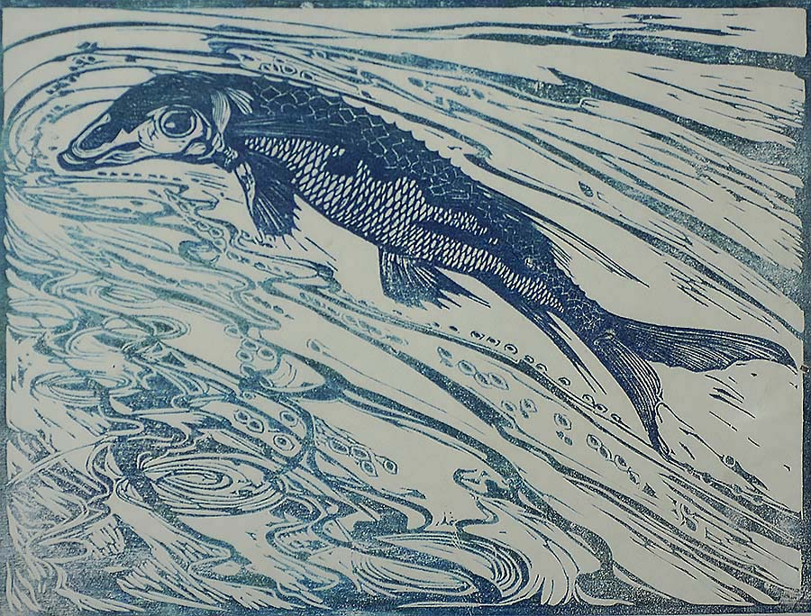 Pike or Sturgeon - JACOBUS G. VELDHEER - woodcut printed in blue